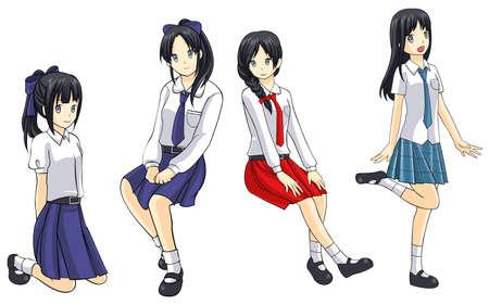 Cute Thai schoolgirls collection  Vector