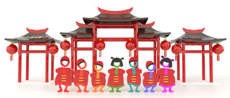 3D Chinese people and Chinese pavilion in white isolated Stock Photo