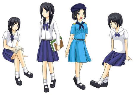 hot asian: Симпатичные коллекция тайские школьницы Иллюстрация