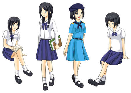 Cute Thai schoolgirls collection Vector