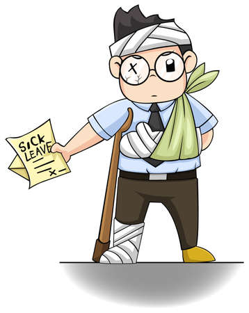 accidente trabajo: Un chico de la oficina está entregando una carta LICENCIA POR ENFERMEDAD