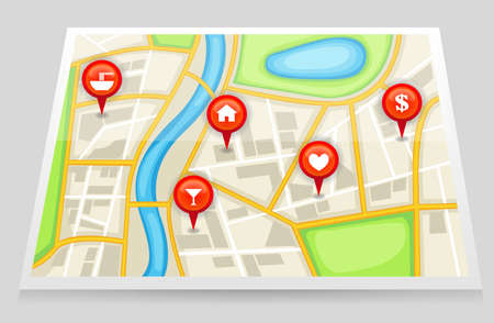 bank records: A city map with important location in red marker, create by vector