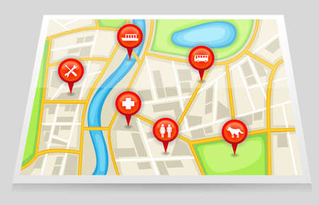 tour guide: A city map with important location in red marker 2, create by vector Illustration