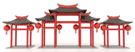 Simple 3D Chinese pavilion gate in white  photo
