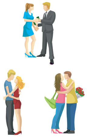 Loving couple sketch in modern fashionable style set 2, create by vector Vector
