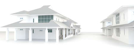 urban area: Residential estate architecture exterior design in white background, create by 3D