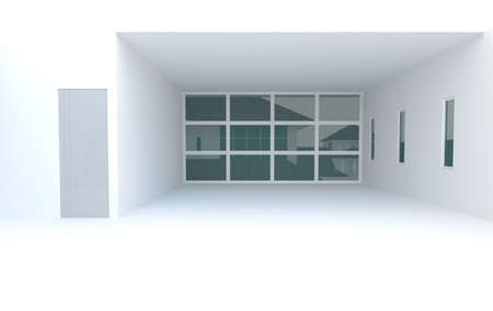 White room with windows and futuristic style, create by 3D photo