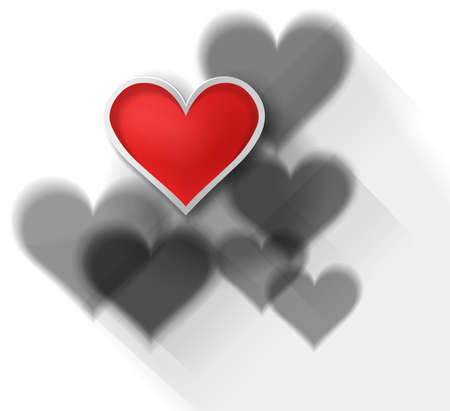 3D red heart among other black shadow hearts on white background, create by vector Vector
