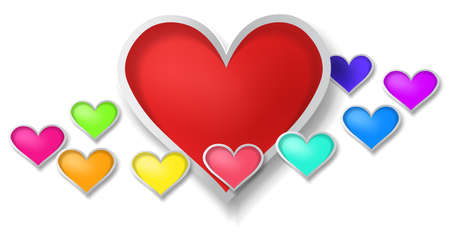 3D colorful paper hearts with little hearts surrounding on white background, create by vector Vector
