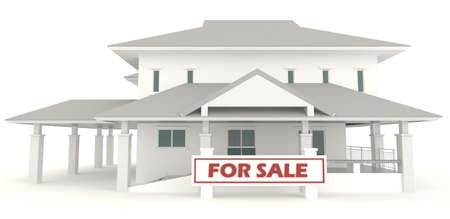 White 3D house with for sale badge in isolated background  It is a real estate business  photo