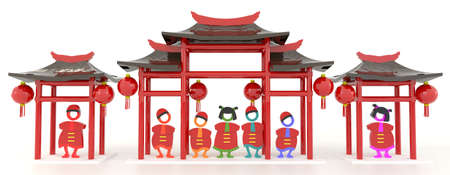 3D Chinese people and Chinese pavilion in white isolated background 2 Stock Photo - 25892657