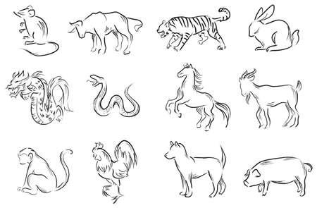 Professionele penseel schilderen set van Chinese twaalf dierenriemtekens, creëren door vector Stock Illustratie