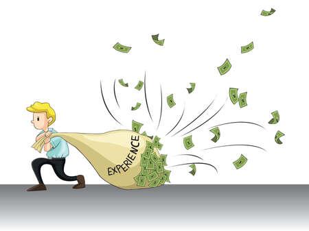 Experiencia laboral atraer dinero Un hombre está arrastrando su bolsa de la experiencia y la mosca de efectivo a la misma, crear por el vector Ilustración de vector