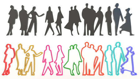 Sets of silhouette and colorful people in various characteristic, create by 3D photo