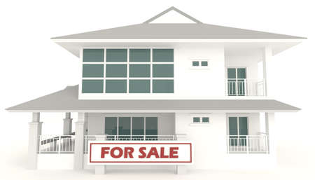 secondhand trade: White 3D house with for sale badge in isolated background  It is a real estate business