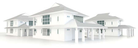 luxury hotel room: Residential estate architecture exterior design in white background, create by 3D