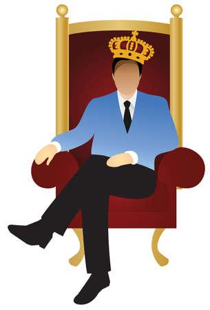 Un imprenditore di successo è seduta sul trono come un re, creare un vettore