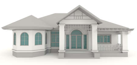 luxury hotel room: 3D retro house architecture exterior design in white background, create by 3D