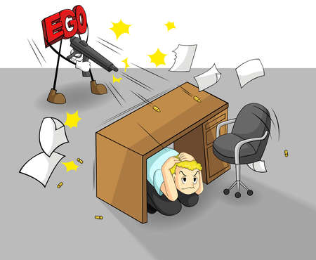 self esteem: An ego is shooting at a office guy  It can destroy your work and success   vector  Illustration