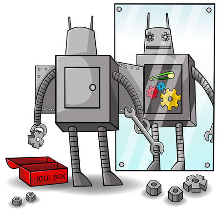 self improvement: A robot is fixing yourself to clear weakness and gain superioity  The concept is about self awareness and self improvement   vector