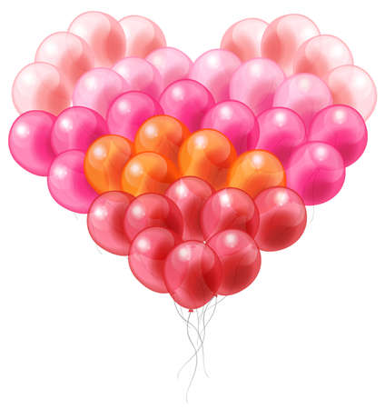 Colorful balloon in heart shape with isolated Vector