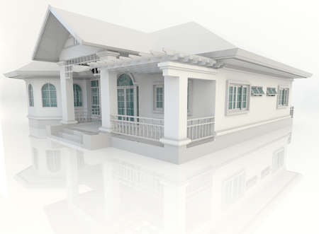 house render: 3D vintage house exterior design with refelction in white, create by 3D Stock Photo