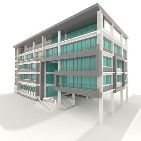 Kant van flatarchitectuur exterieur design in een witte achtergrond Stockfoto