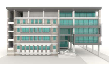 luxury house exterior: 3D condominium architecture exterior design in white, create by 3D