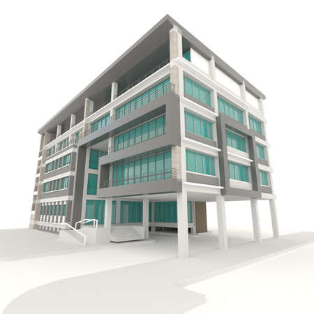 Side of condominium architecture exterior design in white background photo