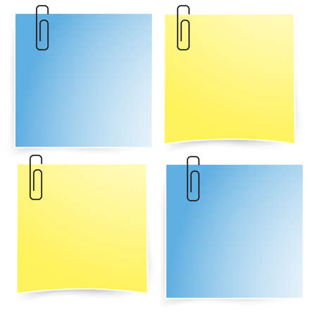 implement: Office paper notepad on the wall icon set, create by vector