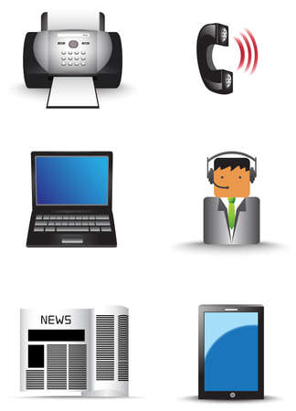 Office information technology supply icon set Vector