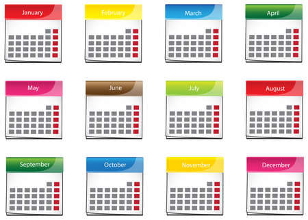 calender icon: Colorful calender icon collection set
