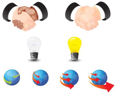 globális üzleti: A globális üzleti és összehúzódás ikon gyűjtemény set Illusztráció