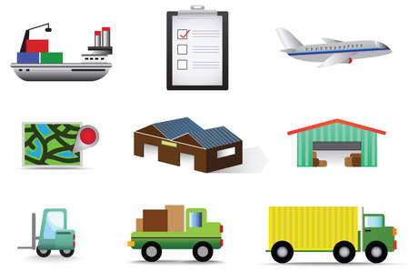 Complete logistic and transportation icon collection set Vector