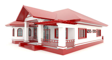 house render: 3D red vintage house exterior design in isolated background