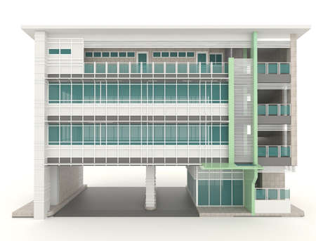 3D modern office building architecture exterior design in white background  photo