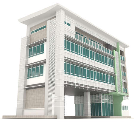 luxury hotel room: Side of 3D modern office building architecture exterior design in white background