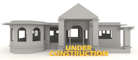 house under construction: 3D vintage house is under construction in isolated background