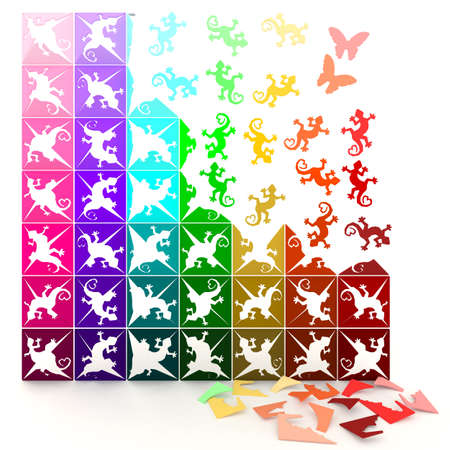 3D colorful paper lizards turn to life, in jigsaw style. Can be use for decoration photo