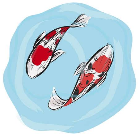 cuadros abstractos: Profesional de la pintura de la carpa Koi Artisic pescado con el estilo de arte japon�s, a crear por el vector