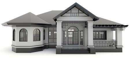 3D black vintage house exterior design in isolated background, create by 3D photo