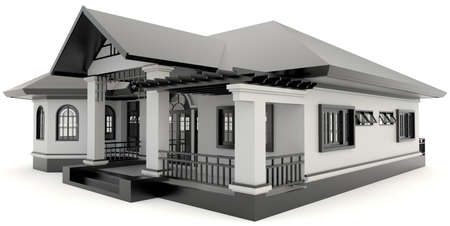 Nice 3D Black Vintage House Exterior Design In Isolated Background, Create By 3D  Photo