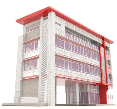 side of 3d modern office building architecture exterior design in white background 2 create by - Modern Architecture Exterior Designs