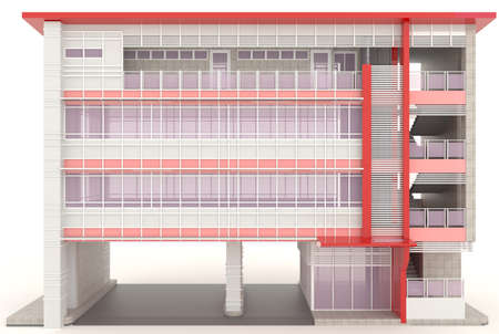 Red 3D modern office building exterior design in white background, create by 3D photo
