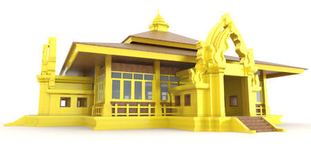 cambodia: 3D golden Cambodian  Khmer  palace exterior design in isolated background, create by 3D