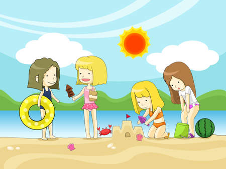 Young girls playing on the beach, create by vector Vector