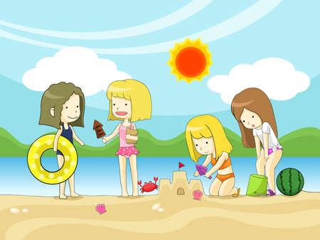 teenage girl bikini: Young girls playing on the beach, create by vector