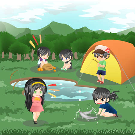 annoy: Children are camping in the wilderness and doing leisure activities, create by vector Illustration