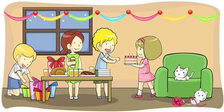 Kids celebrating a birthday party, create by vector Vector
