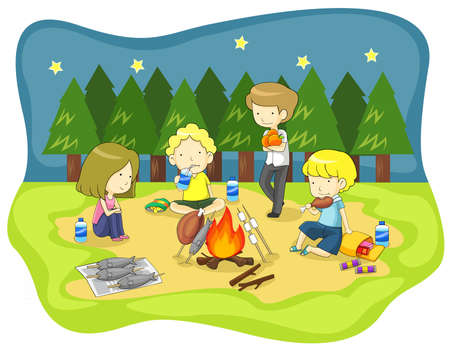 Children campfire in the wilderness at night and having fun with dinner, create by vector Vector